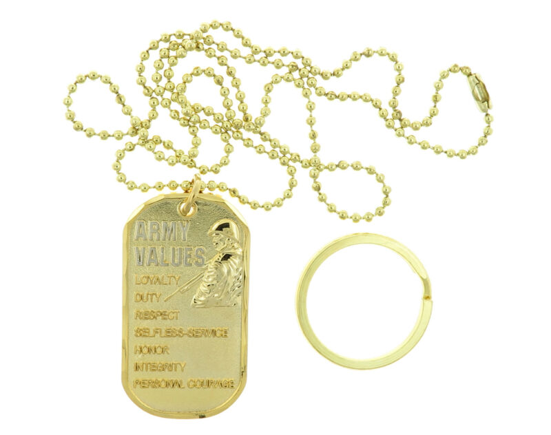 U.S. Army Values United States USA Military ID Brass Dog Tag / Keychain