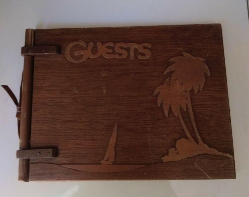 Vintage 1939 Wooden Guest Book