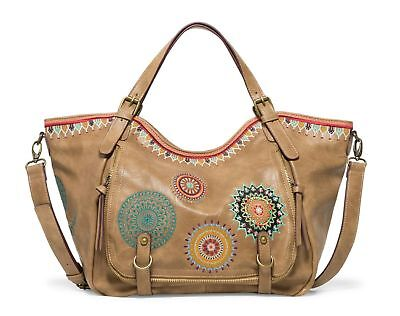 Desigual Siara Rotterdam Shoulder Bag Umhängetasche Tasche Beige Safari Braun