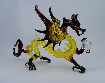 Dragon Yellow and Amber Figurine of Blown Glass Crystal