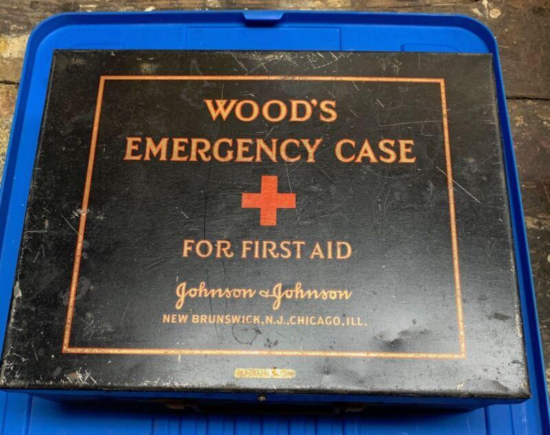 Antique First Aid Kit Metal box Wood