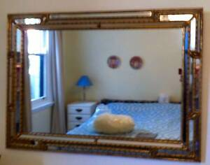 LARGE MULTI-BEVELLED MIRROR WITH GILT NOTCHED TRIM Mosman Mosman Area Preview