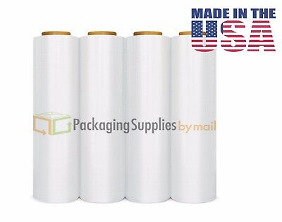 "4 Plastic Shrink Hand Stretch Wrap Roll 18"" x 1500' Film Clear PVC Body"