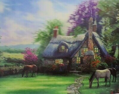 Thatched Roof Cottage - with Horses - 3D Lenticular Poster --12x16 Print