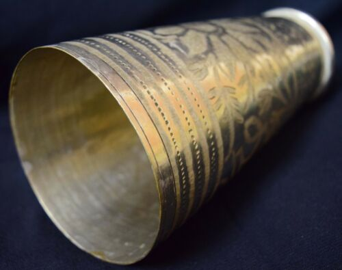 Antique Mug Brass Glass Engraved Flower Design Rear Kali Art Work Gift VR674