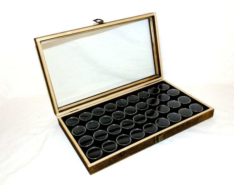 Rustic Antique Brown Color Glass Top Display Case With 36 Gem Jars Black