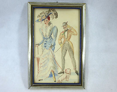 Watercolour in the Frame Paris France Um 1900 Picture Lady Fashion