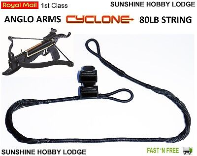 Crossbow String 80lb Pistol Xbow String & End Caps Fits Anglo Arms Cyclone Bow 80 Lb Arm