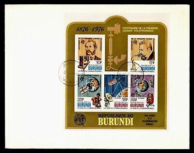 DR WHO 1977 BURUNDI FDC ITU BELL TELEPHONE ANIV S/S SPACE  Lg18515