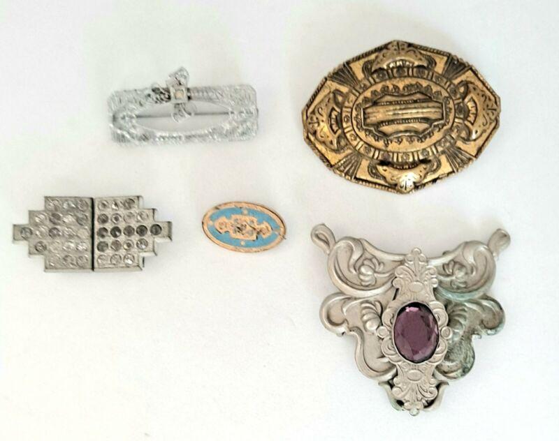 Vtg Antique Brooch & Clasps 5 Pc Jewelry Lot Art Deco Victorian