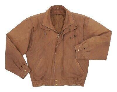 Vintage 80's Leather Jacket L Large Mens Distressed Bomber Jacket Motorcycle