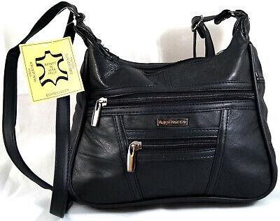 Schwarz Abend-handtasche (Umhängetasche Handtasche Abendtasche Echt Leder Schwarz Bag Street 6626 weich)