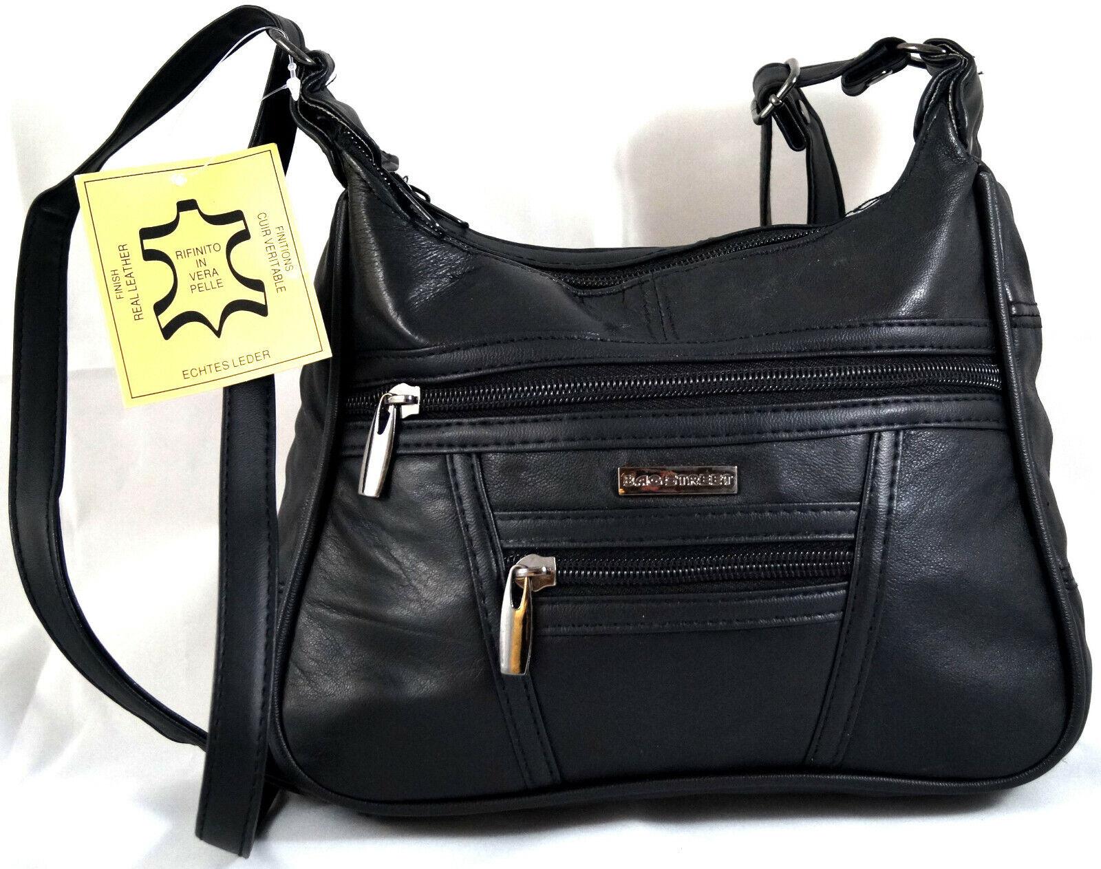 Umhängetasche Handtasche Abendtasche Echt Leder Schwarz Bag Street 6626 weich
