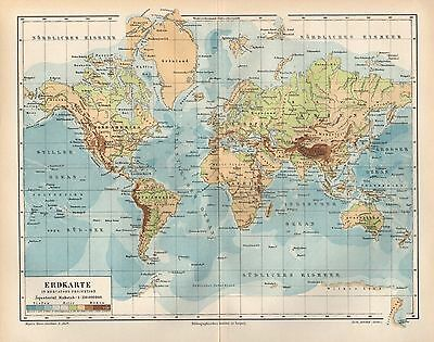 Die Erde nach Mercator Erdkarte Landkarte von 1894  in Mercators Projection