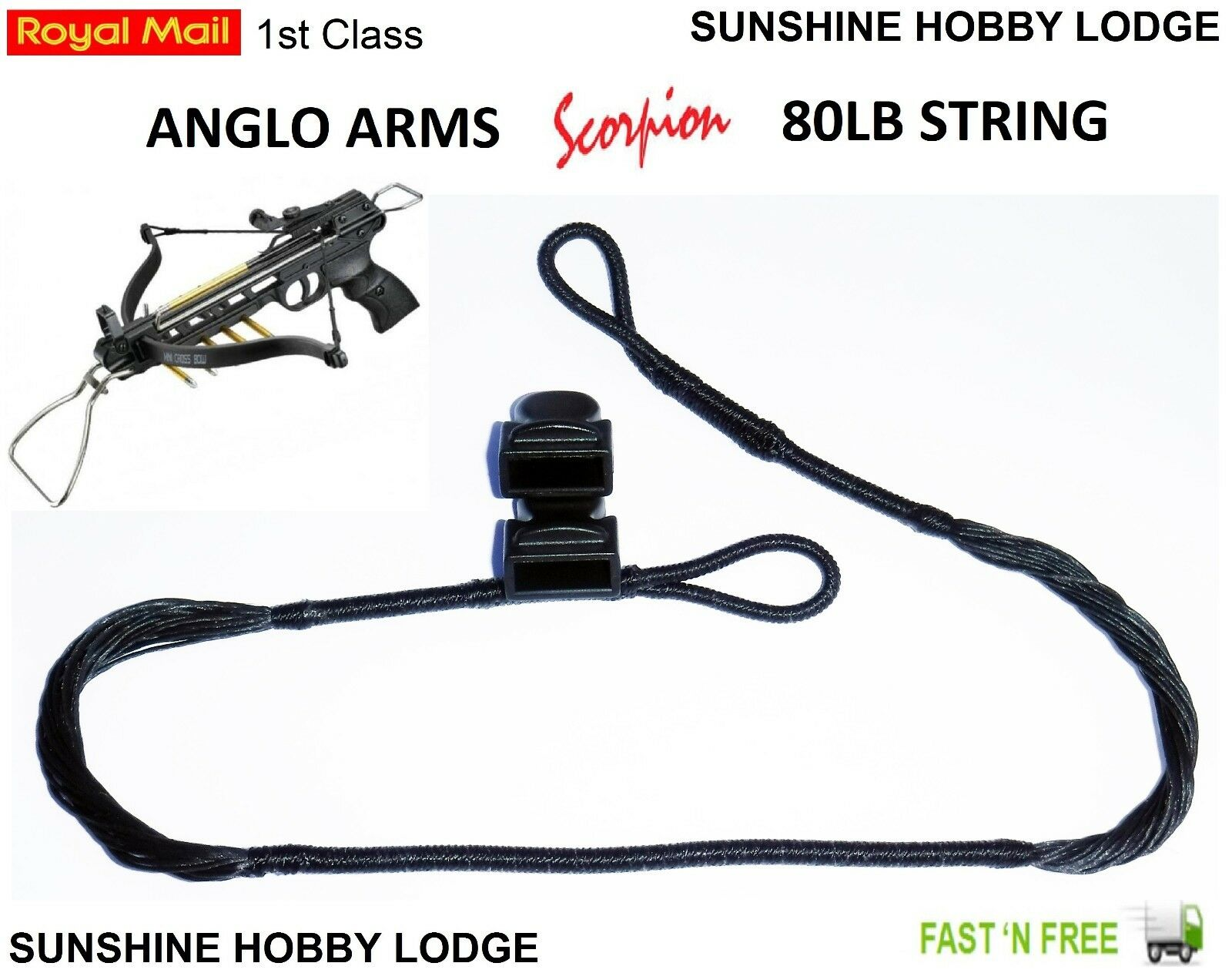 Details about Crossbow String 80lb Pistol Xbow String & End Caps Fits Anglo  Arms Scorpion Bow
