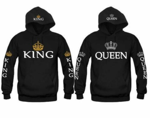 King And Queen Couple Hoodies Valentine Matching Cute Love Sweater Shirt Clothes