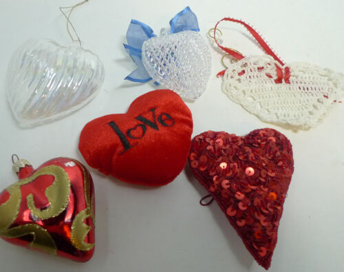 Valentine Collectibles 6 pc Lot Heart Ornament Sequins Glass Crocheted Red Clear
