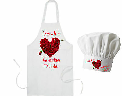 (Personalised Rose Heart Adults Apron & Chef's Hat Valentines Delight GIFT Cook)