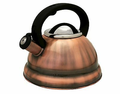 Copper Finish  Stainless Steel 3 quart qt 2.8 Liter Whistling Tea Kettle