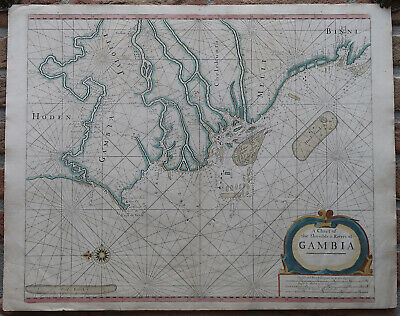 Antique Print-SEA CHART-AFRICA-GAMBIA-SENEGAL-SIERRA LEONE-Thronton-1707