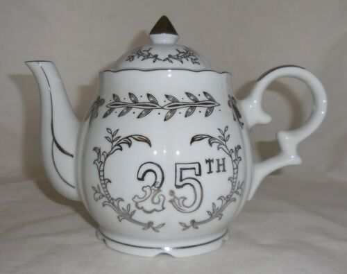 Vintage LEFTON 25th Anniversary Musical Teapot Bone China Music Box