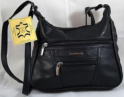 Schultertasche Umhängetasche Handtasche Abendtasche Echt Leder Schwarz 6626 soft