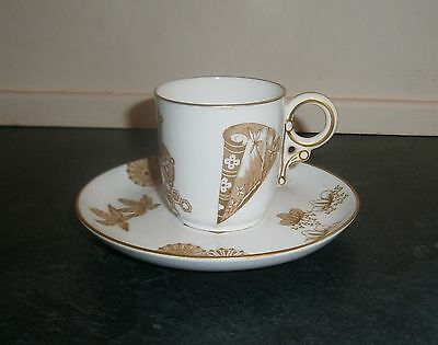 Antique 19thc Duo - Demitasse & Saucer By Royal Worcester c.1878