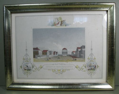 "19th Century Hand-Colored Steel Engraving, ""Univ. of Virginia, Charlottesville"""