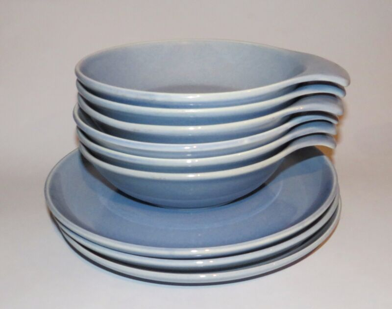 Russel Wright Manitoga Blue Lug Bowls & Plates