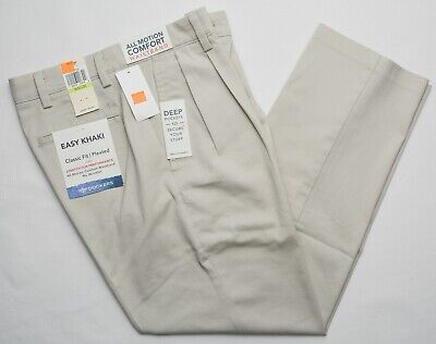 Dockers #9842 NEW Men's Pleated Classic Fit Easy Khaki Stretch Pants Classic Fit Pleated Khaki