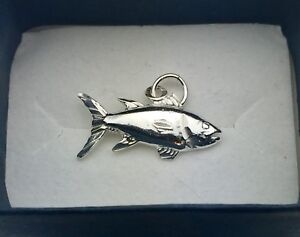 New! Sterling silver salmon fish pendant charm