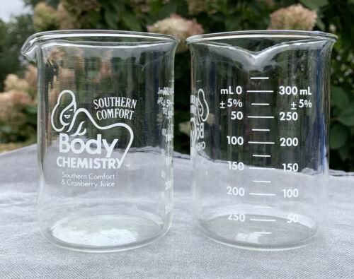 2 New Southern Comfort Body Chemistry Beaker Cocktail Glasses 300 ml Halloween