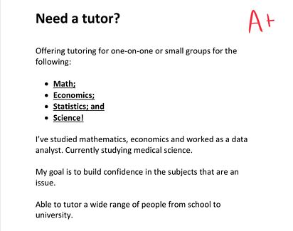 Tutoring - Math, stats and economics