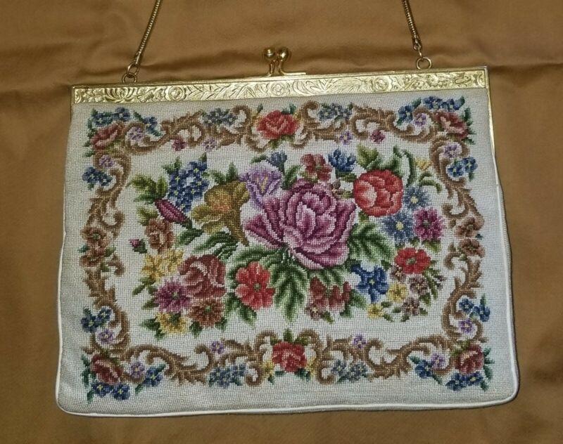 Vintage Floral Petit Point Tapestry Purse Handbag