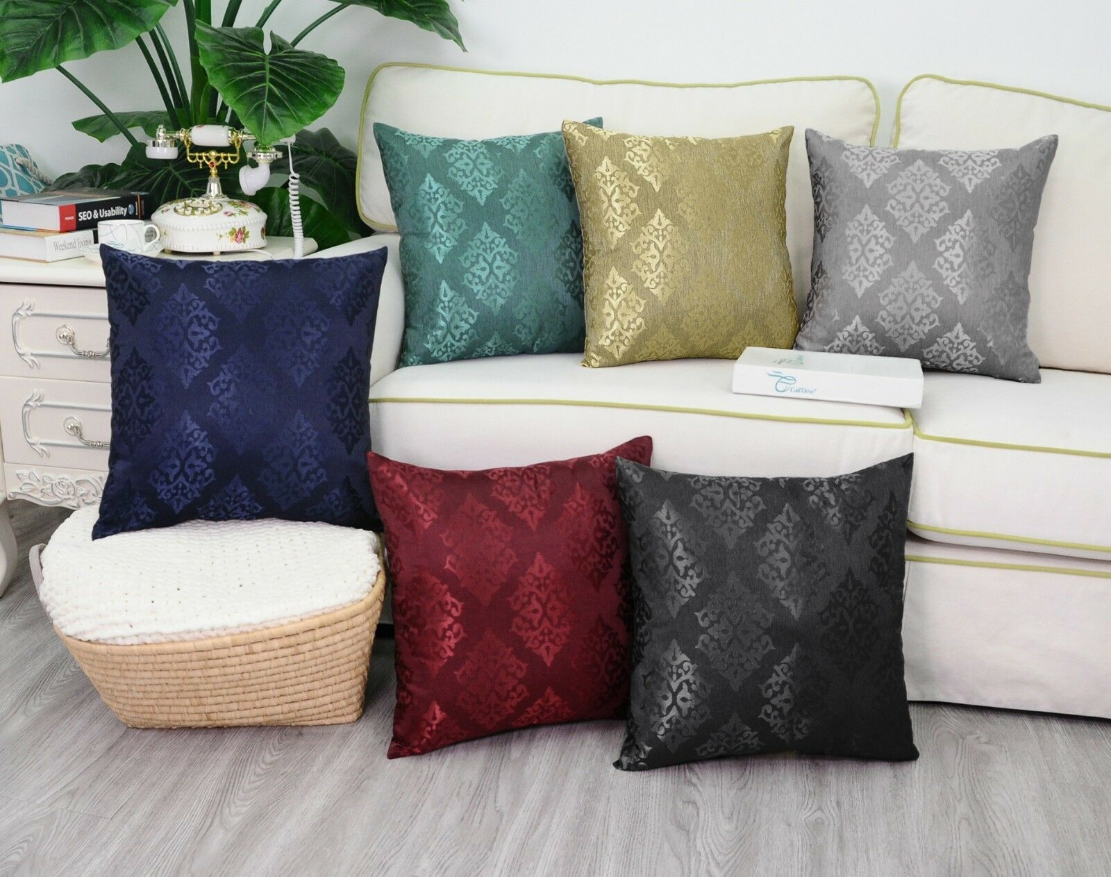 CalITime Pillow Cases Shells Cushion Covers Jacquard Florals