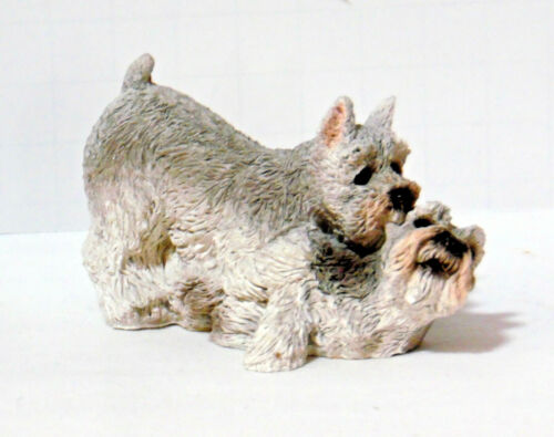 STONE CRITTERS SCHNAUZER DOGS PLAYING FIGURINE UDC  SC191 1995