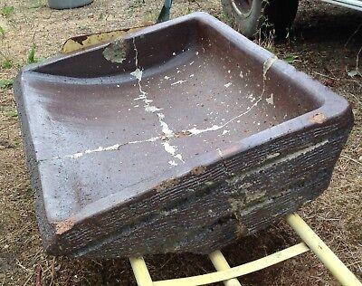 Large heavy salt glazed trough, agricultural origins, Sempervivums etc.