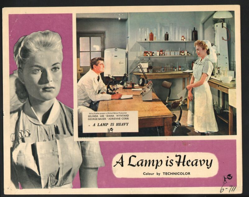 Lamp is Heavy Lobby Card-Belinda Lee in a lab with George Baker.