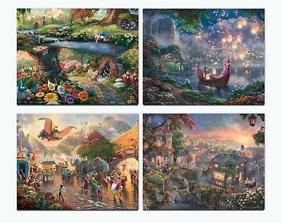 Thomas Kinkade Studios Disney Set of 4 Art Prints