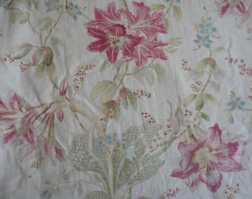 Antique  Shabby French Lily Orchid Floral Cotton Fabric ~Softened Pink Blue Sage