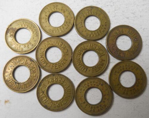Lot of 10 Los Angeles Municipal Ferry (California) transit tokens - CA450E