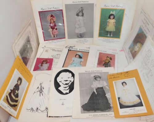 Lot of 13 Vintage DOLL Clothes Patterns Byron, Bell Ceramics, Connies, Maimie