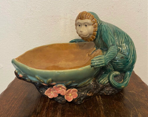 "Vintage Majolica Ceramic Monkey Holding Bowl Centerpiece Decor - 9"""
