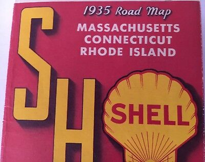 Vintage 1935 Shell Oil Company New England Road Map - Excellent Condition