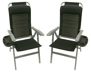 2 X ALUMINIUM FOLDING RECLINER CHAIRS + TABLE caravan camping motorhome garden