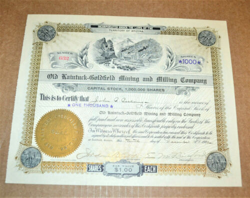 Old Kaintuck-Goldfield Mining and Milling Company 1908 antique stock certificate