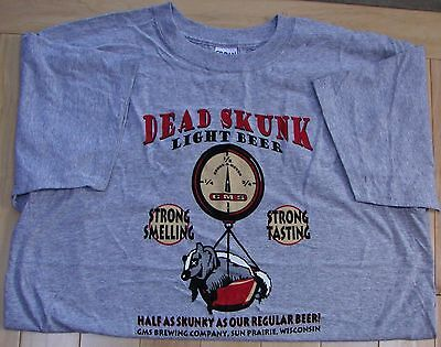 Dead Skunk Light Beer gray or white with red ringers Large, XL or XXL t-shirt