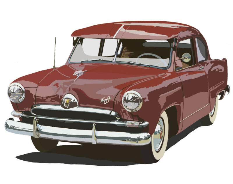 Kaiser Henry J automobile canvas art print by Richard Browne