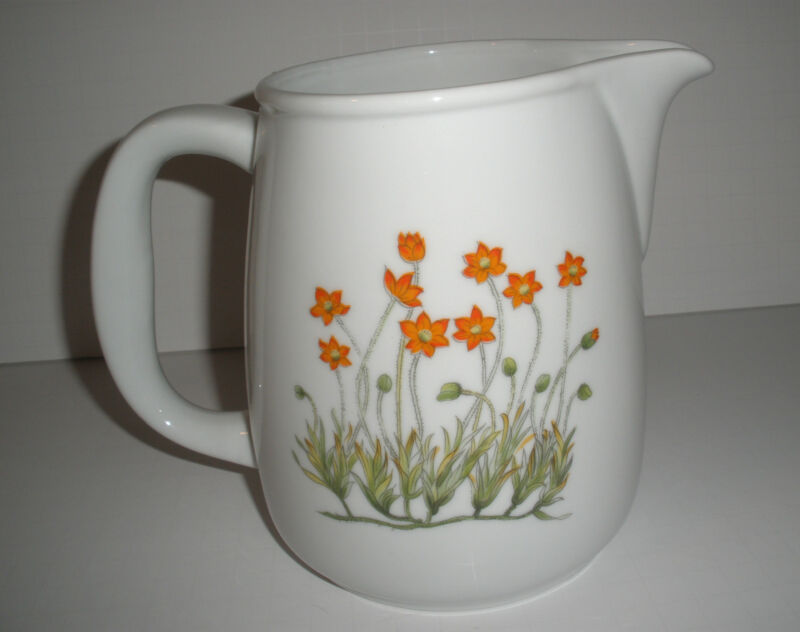 Vintage Large Bright White Porcelain Pitcher Jug With Orange Flowers Both Sides