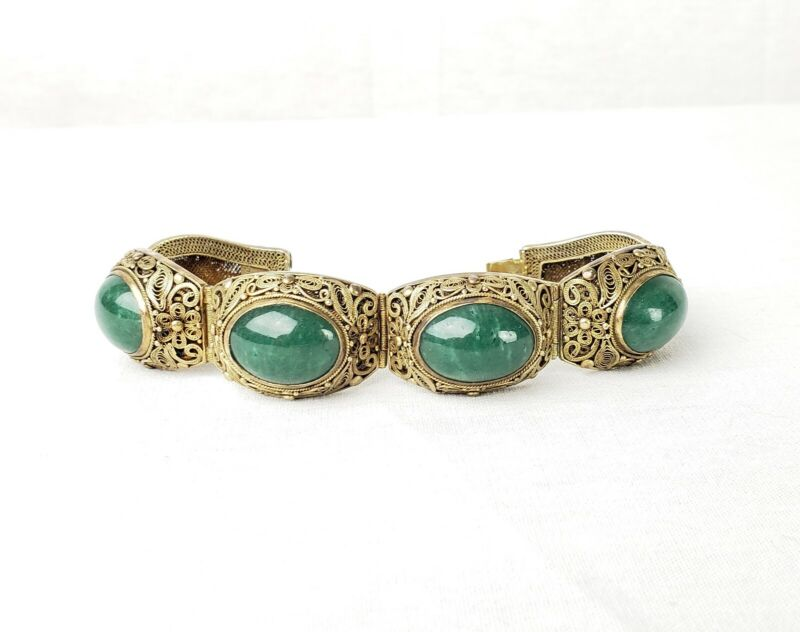Antique Chinese Export Gilt Silver Filigree Aventurine Cabachon Bracelet